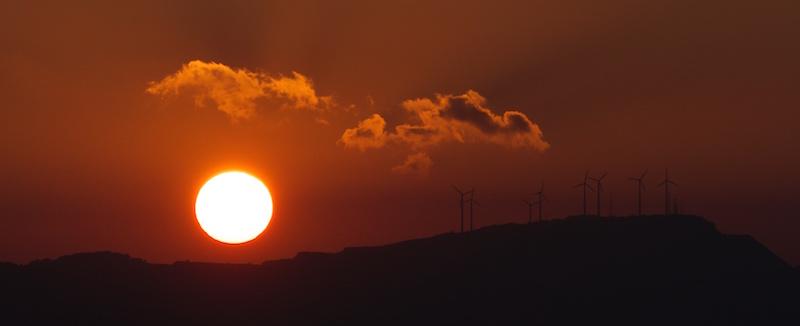Puesta de sol, viaje, planeta, viento